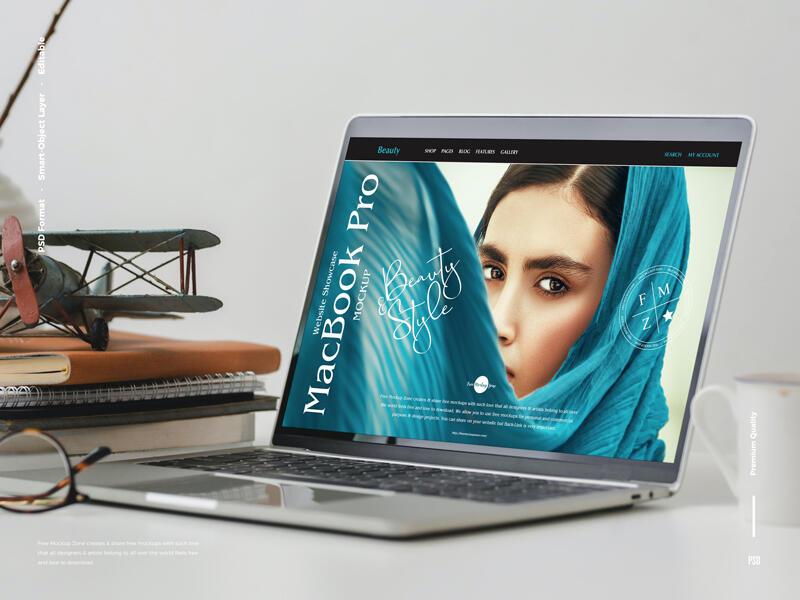 Free Website Showcase MacBook Pro Mockup PSD Template