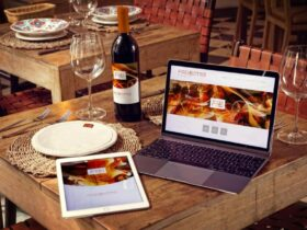 Free Wine Bottle with iPad Air 2 and Macbook Mockup PSD