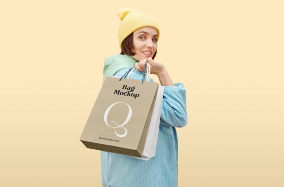 Free Women with Paper Bags Mockup PSD Template