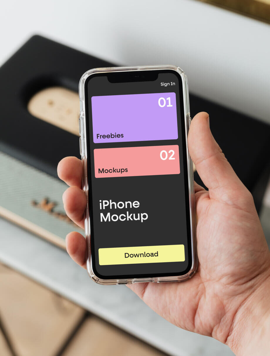 Free iPhone in Case Mockup PSD Template