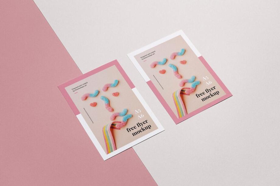 Free A6 flyers Mockup PSD Template