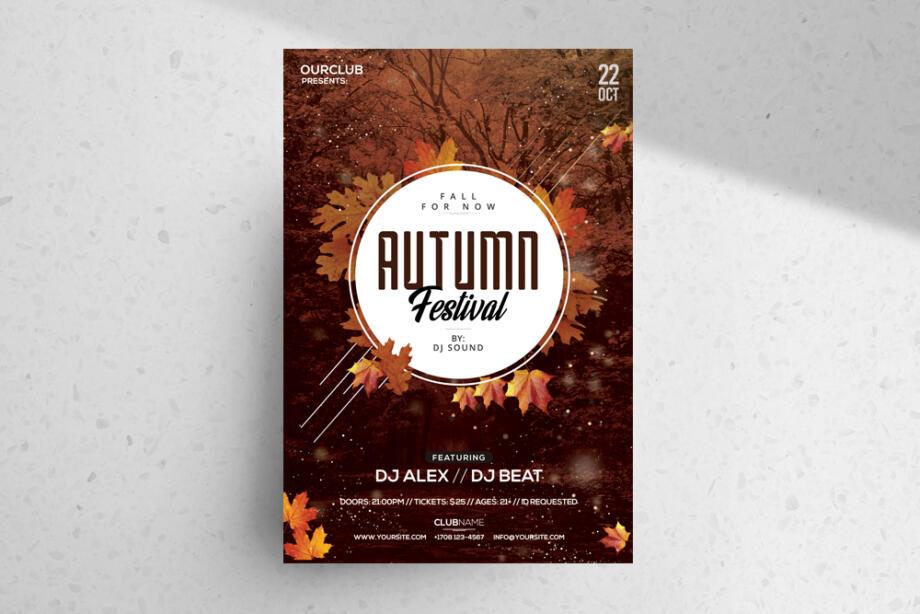 Free Autumn Festival PSD Flyer Template