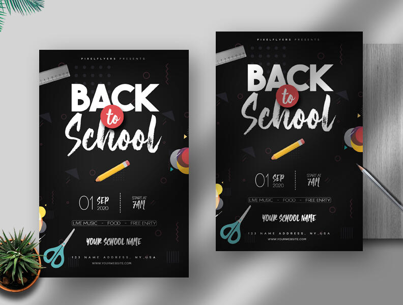 Free Back to School PSD Flyer Template