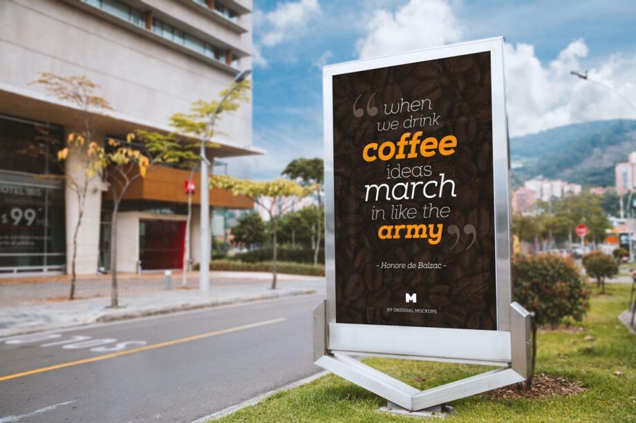 Free Billboard Outdoor Advertising PSD Mockup Template
