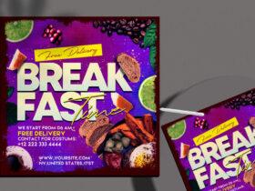 Free Breakfast Time Instagram Banner PSD Template