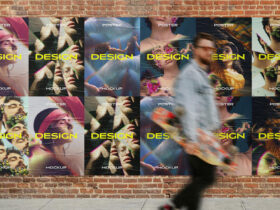 Free Brick Wall Poster Mockup PSD Template