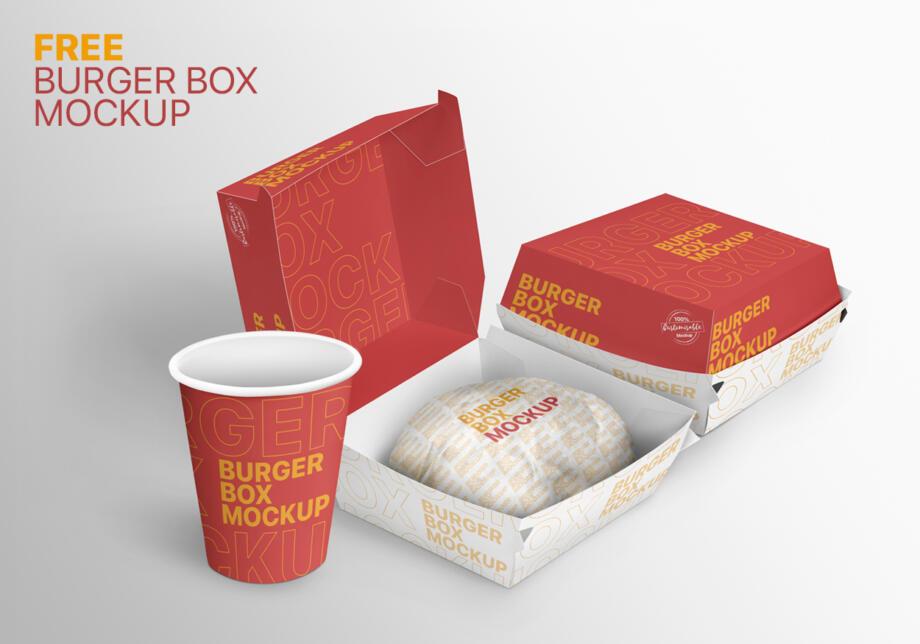 Free Burger Box Mockup PSD Template
