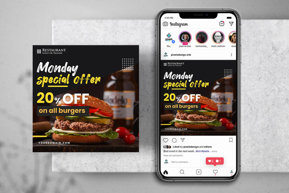 Free Burger Offer Instagram Banner Template PSD