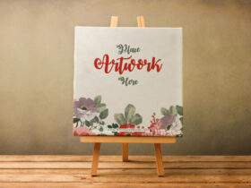 Free Canvas on Wooden Stand Mockup PSD Templates