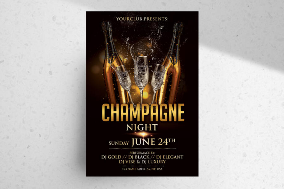 Free Champagne Luxury Night PSD Flyer Template