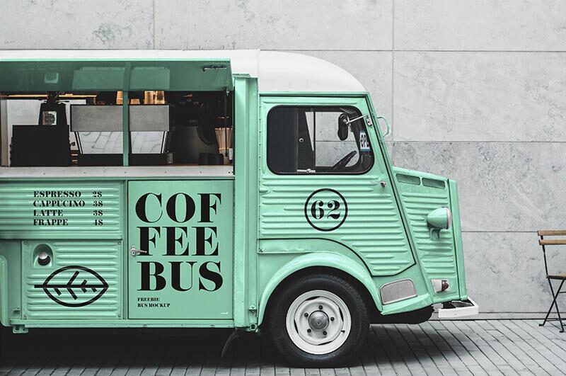 Free Citroen Food Truck Mockup PSD Template