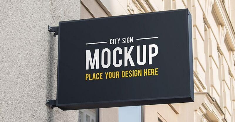 Free City Sign Mockup PSD Template