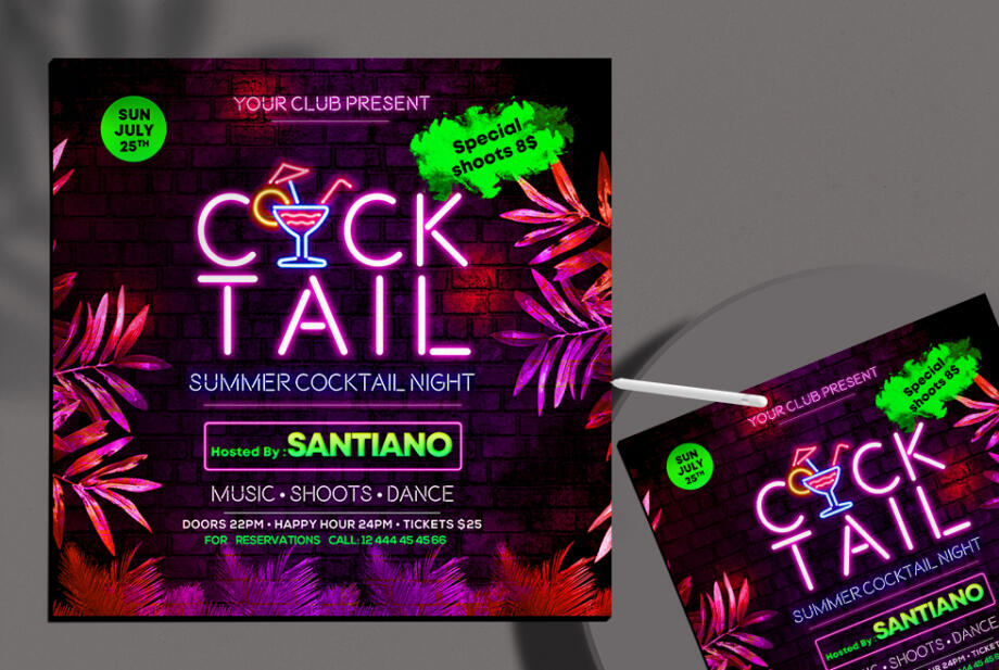 Free Cocktail Night Club Instagram Banner PSD