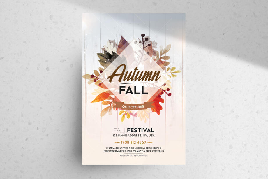 Free Fall Festival PSD Flyer Template