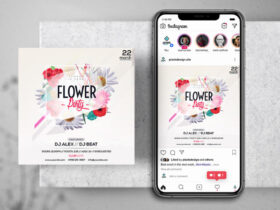 Free Flower Party Instagram Banner Template PSD