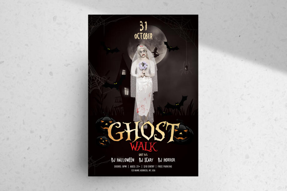 Free Ghost Walk – Halloween PSD Flyer Template