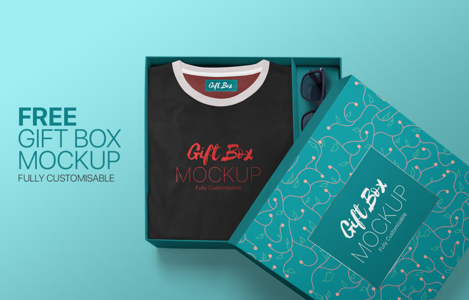 Free Gift Box Mockup PSD Template