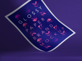 Free Glossy Branding Paper Mockup PSD Template