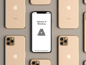 Free Gold iPhone 11 Mockup PSD Template