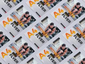Free Grid Branding A4 Flyer Mockup PSD Template
