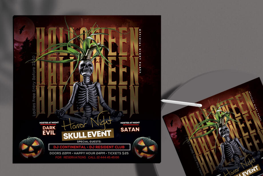 Free Halloween Night Party PSD Flyer Template