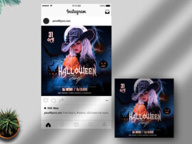 Free Halloween Party Instagram Banner PSD Template