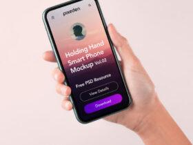 Free Hand Holding Phone Mockup PSD Template