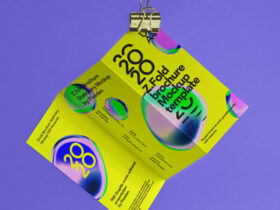Free Hanging Z-Fold Brochure Mockup PSD Template