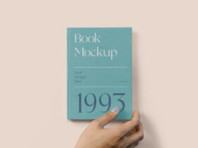 Free Hard Cover Book with Hand Mockup PSD Template