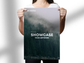 Free Holding A3 Flyer Mockup PSD Template