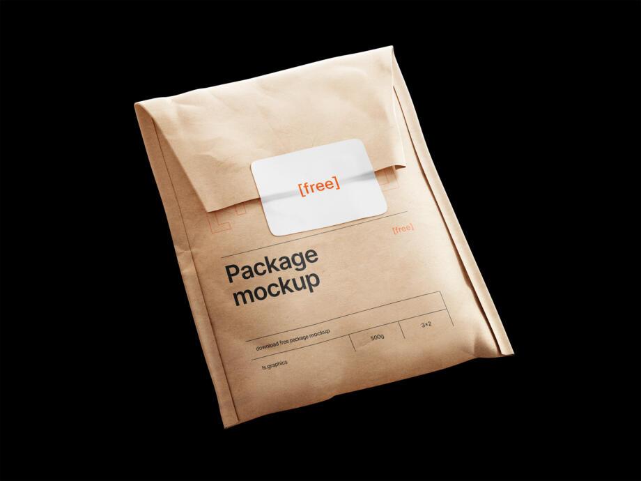 Free Kraft Paper Postal Bag and Sticker Mockup PSD