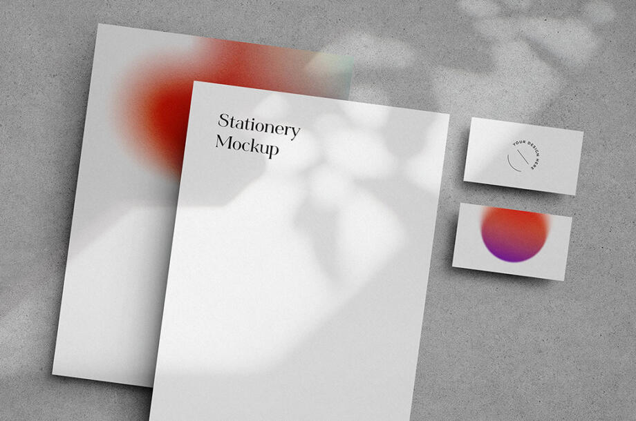 Free Lively Shadows Stationery Mockup PSD Template