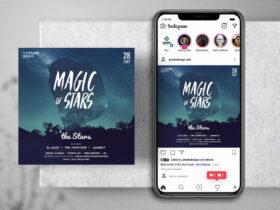 Free Magic Stars Instagram Banner Template (PSD)