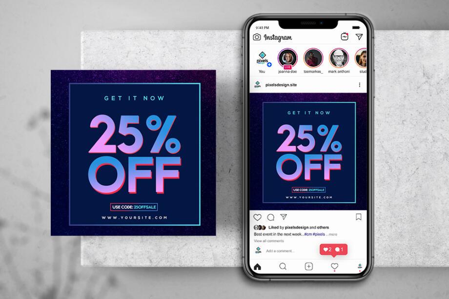 Free Mega Sale % Instagram Banner & Story PSD