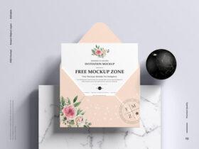 Free Modern 5×7 Inches Invitation Mockup PSD Template