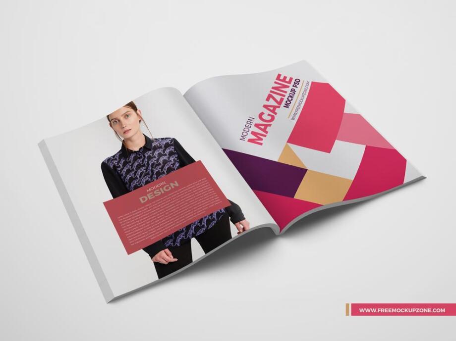Free Modern Open Magazine Mockup PSD Template