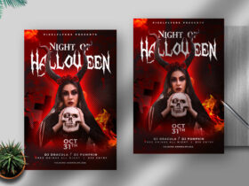 Free Night Of Halloween Flyer PSD Template