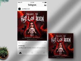 Free Night Of Halloween Instagram Banner PSD Template