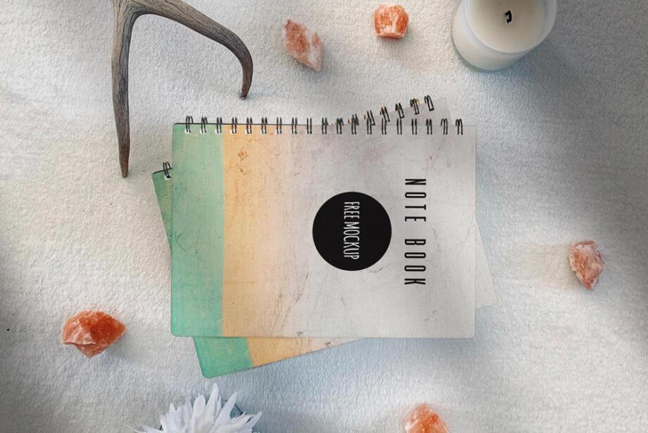 Free NoteBook Scene Kit Mockup PSD Template