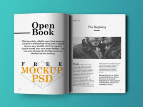 Free Open Book Mockup PSD Template