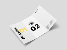 Free Opened Tri-Fold Brochure Mockup PSD