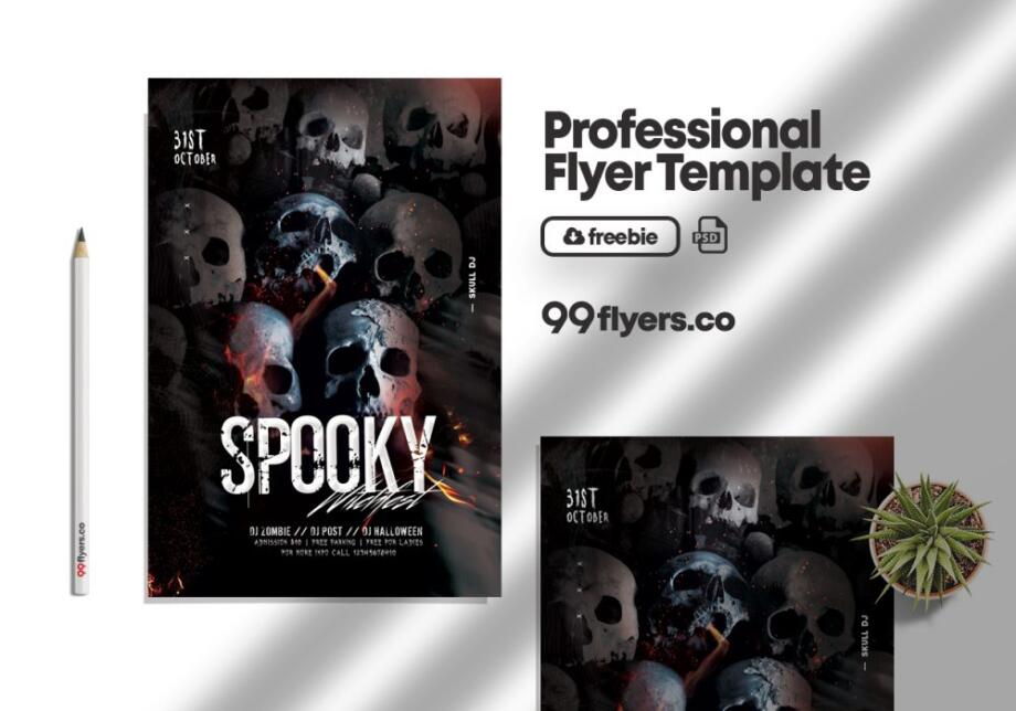 Free Party or Die Halloween Flyer PSD Template