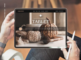 Free Person Holding Digital Tablet Mockup PSD Template