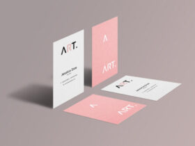 Free Perspective Business Card Mockup PSD Template