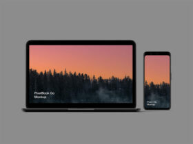 Free Pixel 4 and PixelBook Go Mockup PSD Template