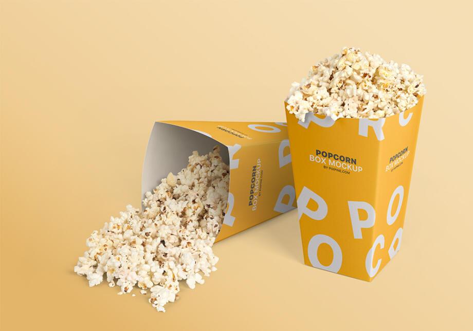 Free Popcorn Box Mockup PSD Template