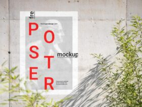 Free Poster on Concrete Wall Mockup PSD Template