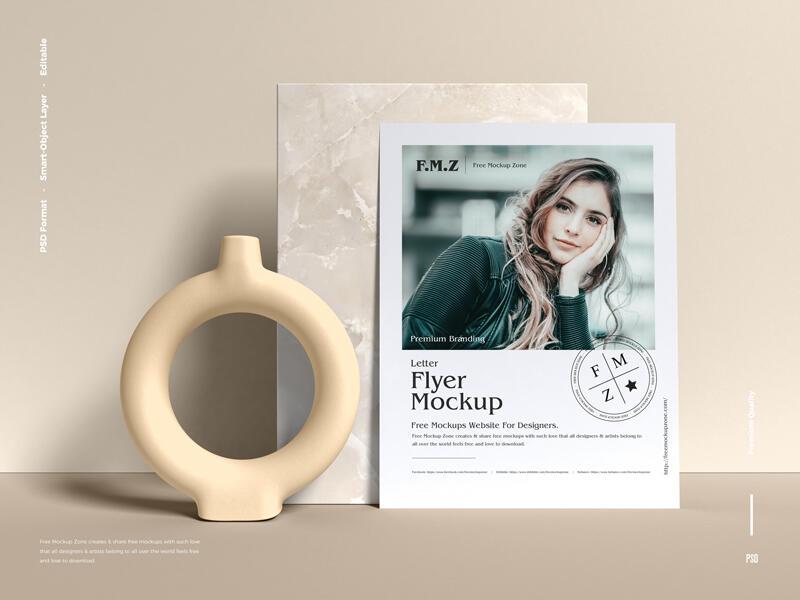 Free Premium Branding Letter Flyer Mockup PSD