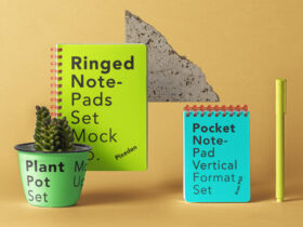 Free Ringed Notepad Set Mockup PSD Template