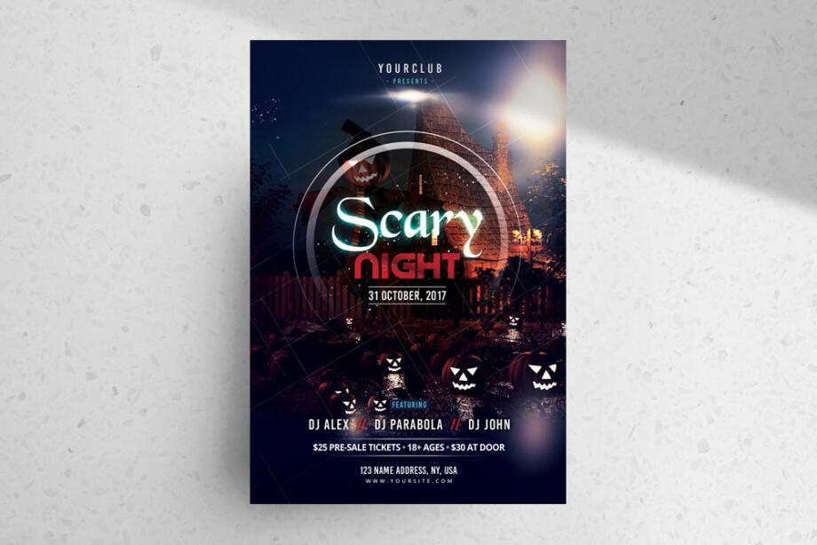 Free Scary Night – Halloween PSD Flyer Template